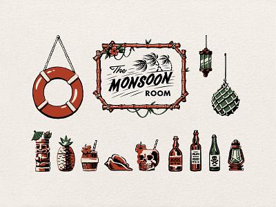The Monsoon Room branding agency design bar hospitality lifestyle surf skate logo visual identity illustration branding