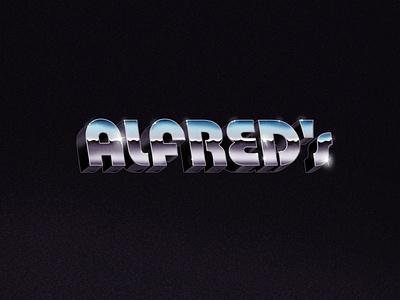 ALFRED'S Chrome Logo lowbrow kitsch retro typography skateordie gold coast mermaid beach skate logo illustration beer surf branding