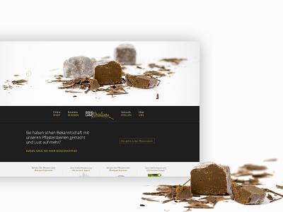Bergland Pralinen UI candy chocolate shop online shop ecommerce ecommerce design homepage screendesign corporate design branding design design adobexd branding user interface userinterface ui uiux
