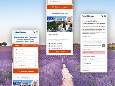 Felix-Reisen Mobile UI travel screendesign webdesign user interface ux ui adobexd design branding
