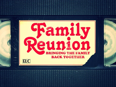 Family Reunion  rebound family reunion typography distressed vintage technology sitcom title display cooper black 80s funny
