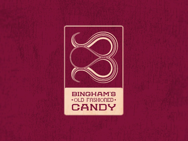 Bingham's Old Fashioned Candy Logo logo branding typography type illustration candy red cream stroke fill width ribbon