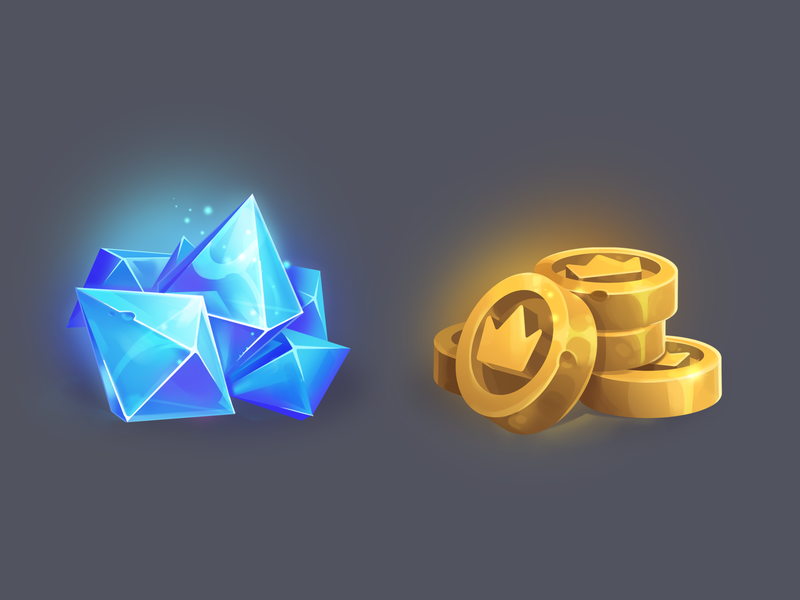 game icons coins and crystals wealth crystal coins gold digitalart ui digital illustration game icon game art art