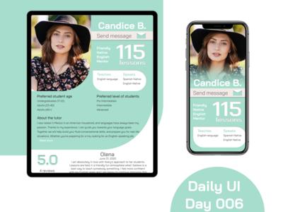Daily UI 006 User Profile ux daily ui 006 user profile ui app daily ui