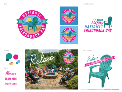 National Adirondack Chair illustration seal logo graphic design branding