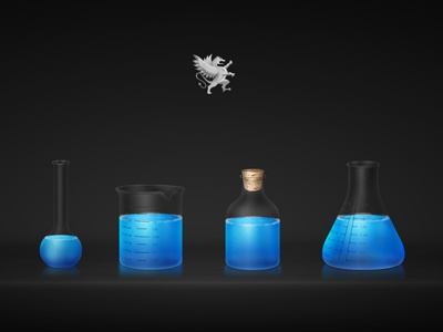 Dragon Labs blue beakers labs html5 blue!