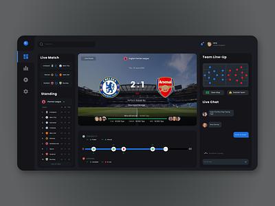 Football Dashboard-Dark Mode uidesign interface football sports darkmode dashboad uiux ui