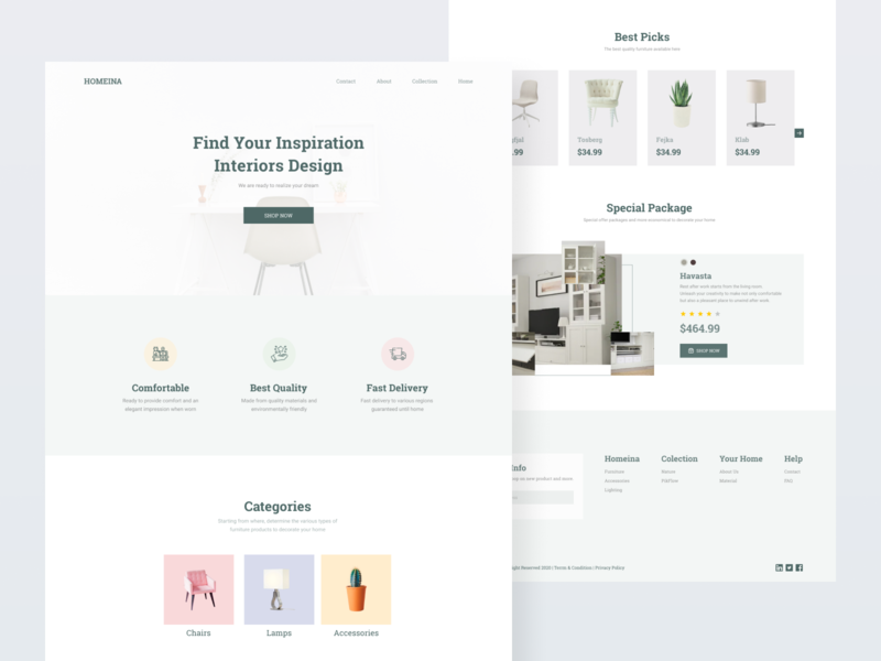 Exploration-Furniture Landing Pages landing page furniture design interface uiux uidesign ui