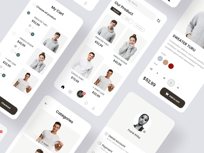 Exploration - Clothing App - More Screens clothing fashion app awesome design clean clean ui branding apps design uiux uidesign ui interface