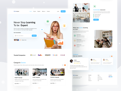 Language Course Website Exploration learning course landing page web design website awesome design clean clean ui branding design uiux uidesign ui interface