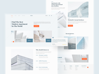 Real Estate Landing Page minimalist homepage apartment real estate clean awesome design apps clean ui branding design uiux uidesign ui interface