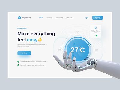 Smart Home - Hero Section clendesign designtrent minimalism smarthome website herosection interface uidesign uiux