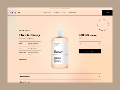 BEAU.TY - Product details page product eshop clean skin care design ux ui web shopify ecommerce e-commerce