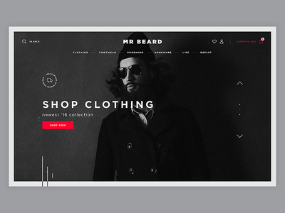 Mr Beard gray index fashion man white black eshop shop e-commerce
