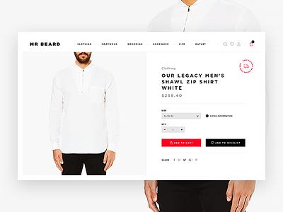 Mr Beard Product Details gray list detail product fashion man white black eshop shop e-commerce