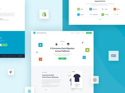 E-Commerce Replatforming white store shop replatforming minimalism migration e-commerce data clean cart blue