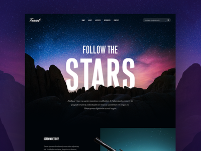 Article page design blog travel cards landscape clean mountain stars web desig ui ux article