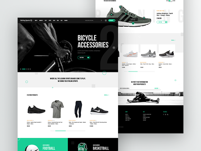 Sports Wear Website Redesign - Homepage homepage shopify e-commerce eshop clean black bicycle redesign wear sport