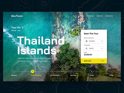 Qoutours ux typography ui islands thailand travel clean tours tour design web