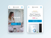 Gleam Mobile Homepage & Product Details