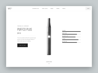 Vape X - Product Details Page Light Version shop product bigcommerce woocommerce redesign minimal design web ux ui white shopify clean eshop e-commerce vaporizer oil cbd oil cbd vape
