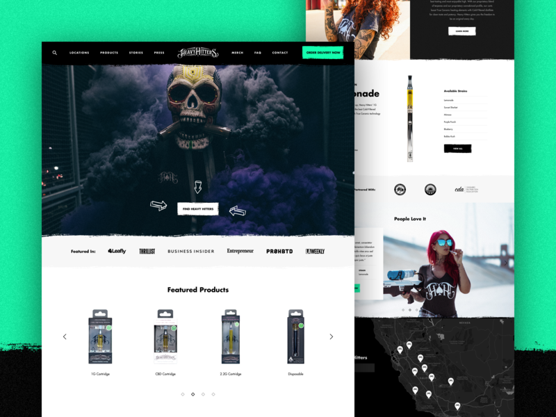 Heavy Hitters - Homepage smoke clean typography cart homepage redesign design web ux ui shop product shopify eshop e-commerce cannabis thc cbd vaper vape