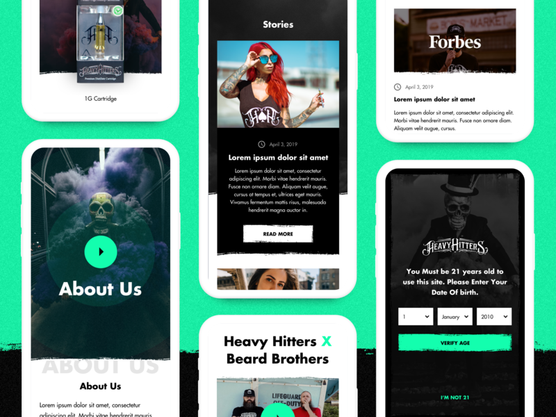 Heavy Hitters - Mobile Inner Pages index redesign design web ux ui white shop product clean shopify eshop e-commerce pages inner cannabis thc cbd vaper vape