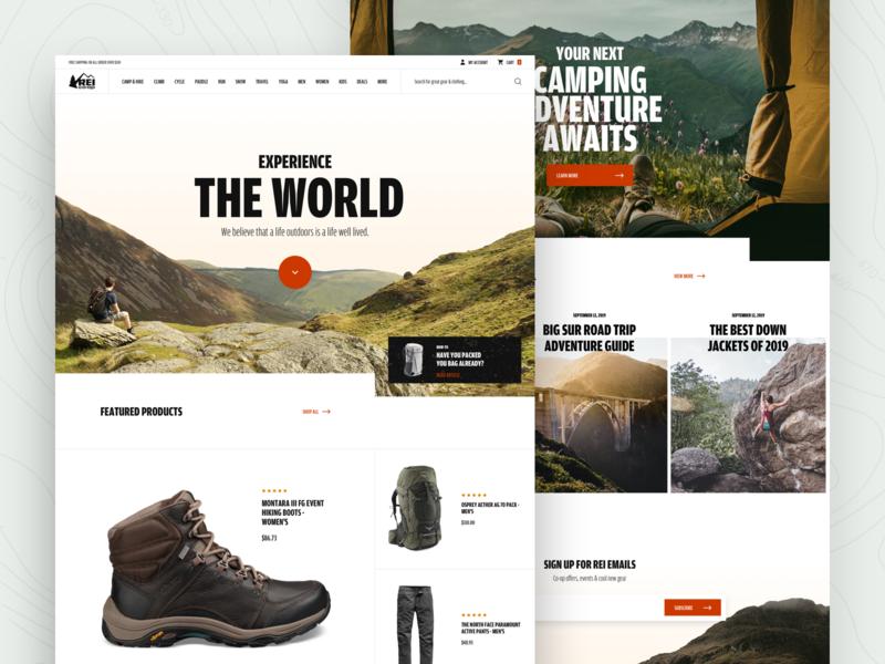 REI website homepage redesign