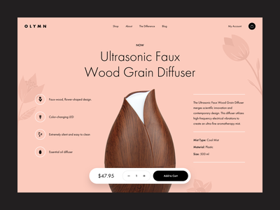 Diffuser Product Details Page product web wood clean diffuser redesign design ux ui shopify e-commerce