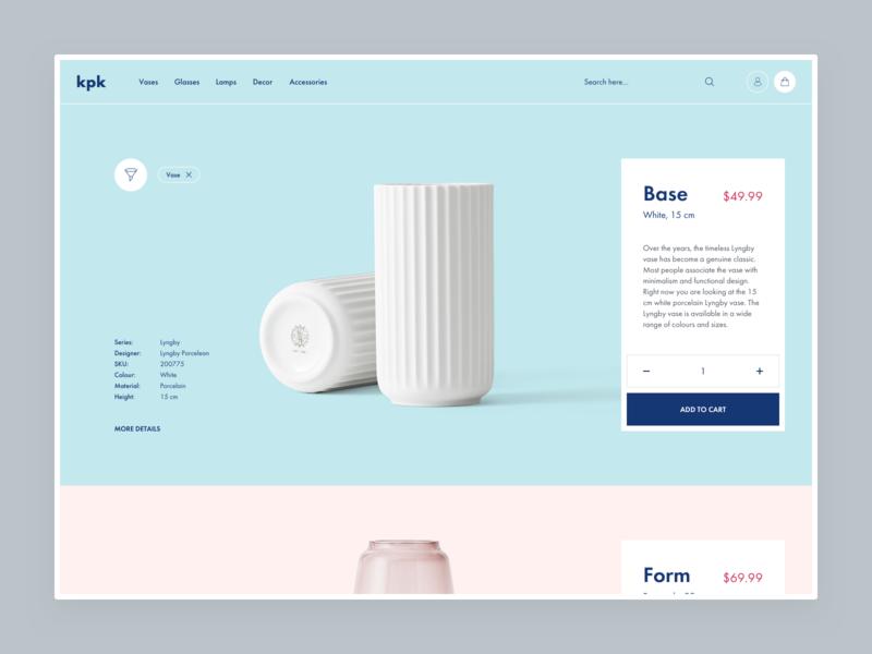 kpk - product listing page shop product design ux ui web shopify eshop clean e-commerce