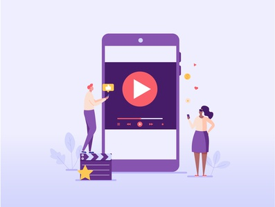 Streaming service online video cinema marketing streaming character media app ui vector service illustration design