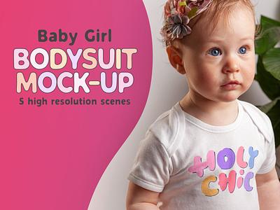 Baby Girl Bodysuit Mock-up design clothes children child toddler girl apparel garment dtg printing print tshirt bodysuit baby wear fashion clothing mockup