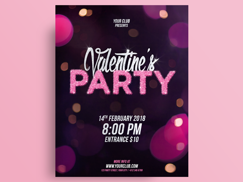Valentines Day Party Flyer Template valentines day present print event clubbing club party promote leaflet poster flyer valentine