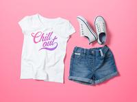 Girl's Crew Neck T-Shirt Mock-Up