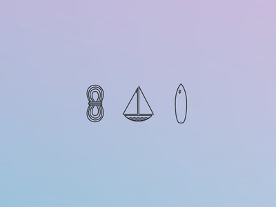 Icons for what I love to do. icons climb sail surf