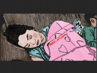 Beauty sleep digital art artwork lineart art design illustration