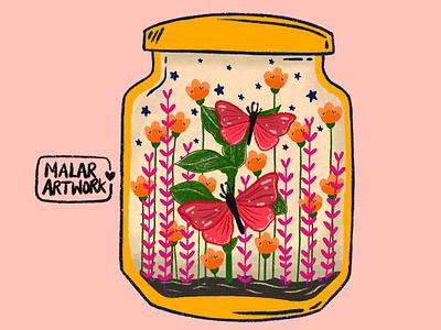 Plants love ❤️ butterflies plants nature graphic graphic design colourful design artwork doodles art illustration