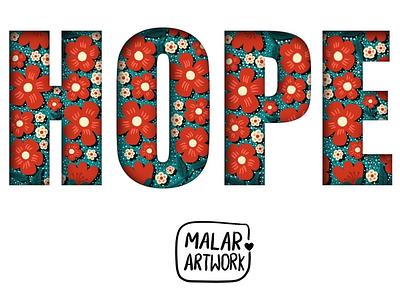 Hope nature plants flower typography hope dribbble graphic design colourful doodles art illustration