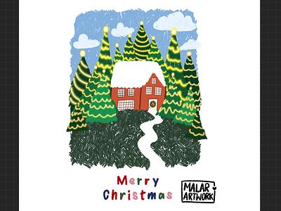Christmas home alone 🎄✨ xmas december winter greeting card clouds sky green christmas tree christmas cards digitalart sketch artwork designer graphic design illustration