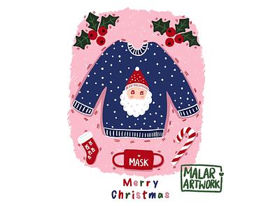 Christmas cards 🎄✨ santa art artwork designer illustrator illustration red pink merry christmas mask december winter nature jingle bells candy socks jumper christmas candy christmas tree christmas cards christmas