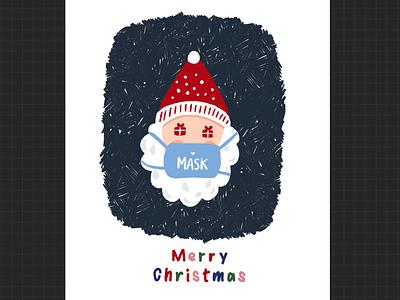 Christmas cards available now! DM on insta - malar_artwork merry christmas mask december winter santa artwork graphic designer graphic design christmas illustration