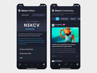 Steam mobile app redesign (free .sketch) csgo valve game steam messenger apple iphone mobile sketch ios app design ux ui