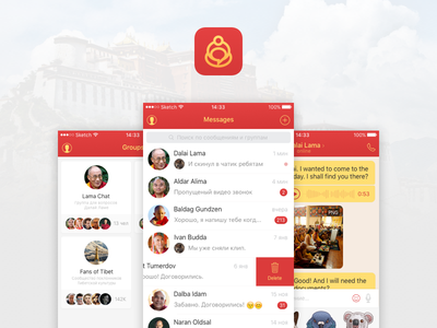 Kirsan - Messenger app for Buddhists ios ux ui busshists sketch messenger red design app