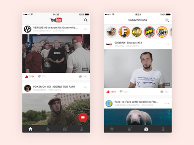 YouTube iOS app concept. youtube ux ui simple relaunch redesign minimal ios google design concept clean