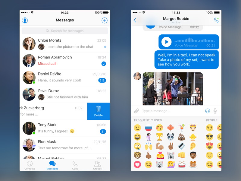 Free Messenger UI Kit for iOS sketch ios freebie message ui messenger mobile kit free app