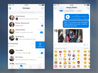 Free Messenger UI Kit for iOS sketch ios freebie message ui messenger mobile kit free app