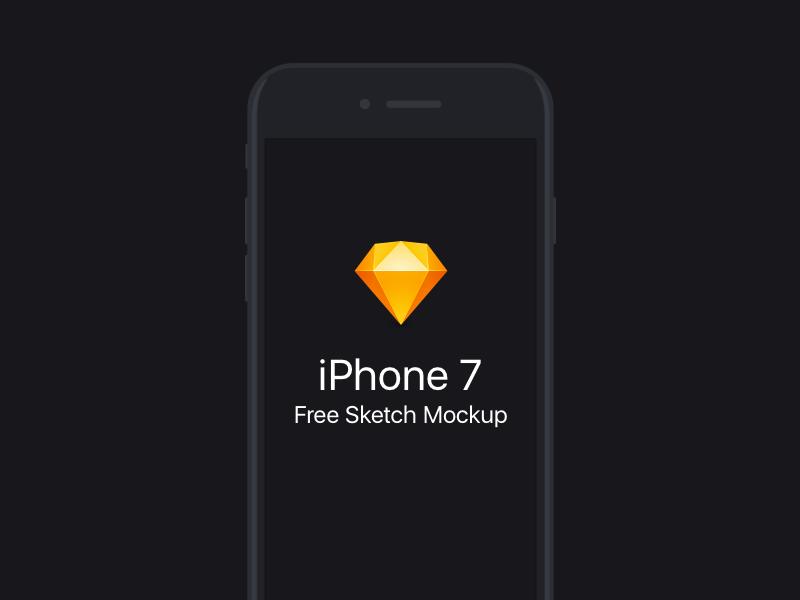 Free Flat iPhone 7 Sketch Mockup flat sketch 7 iphone7 iphone ios freebie download apple