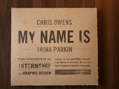 Printed Portfolio typography resume materials chipboard portfolio print ad agency