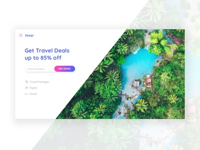 Seeqr travel deals landing page ui blue homepage tropical lagoon travel desktop mockup rounded corners gradient angle travel deals