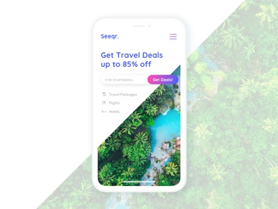 Mobile version of seeqr. iphonex icons travel deals deals vacation travel tropical gradient ux mobile landing